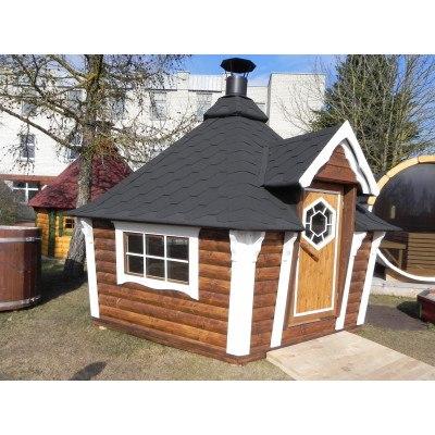 9.2 m² GRILLHYTTE M. UDAD SKRÅNEDE VÆGGE
